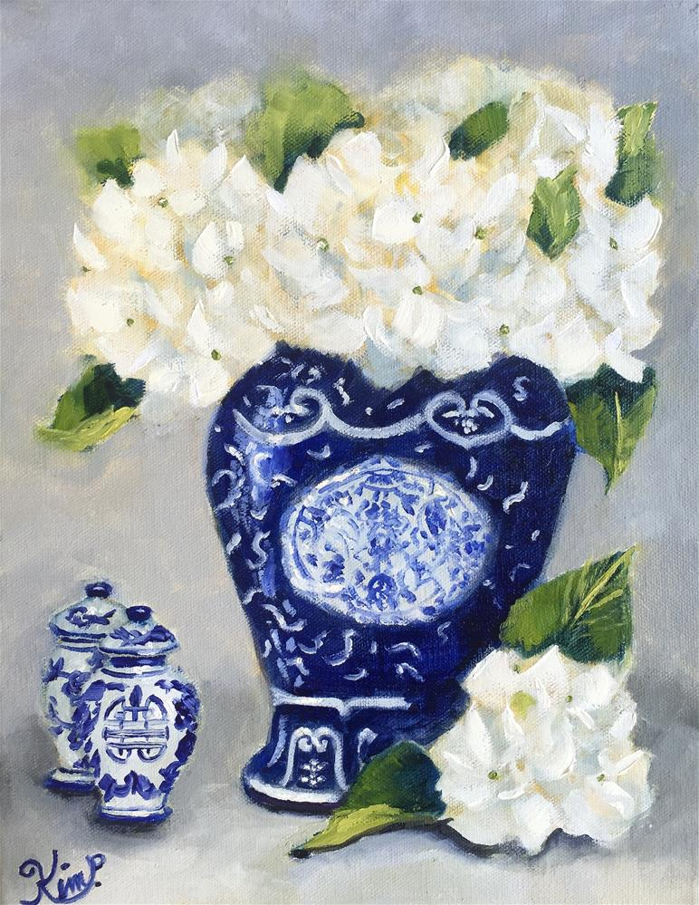 """Still life with White Hydrangeas with Blue and White Porcelain"" original fine art by Kim Peterson"