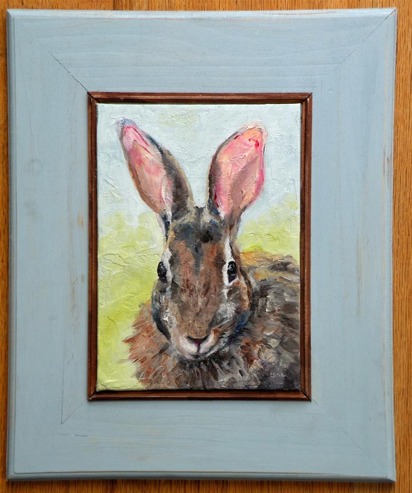 """BUNNY FACE is now FRAMED and in my ETSY shop!  © SAUNDRA LANE GALLOWAY"" original fine art by Saundra Lane Galloway"