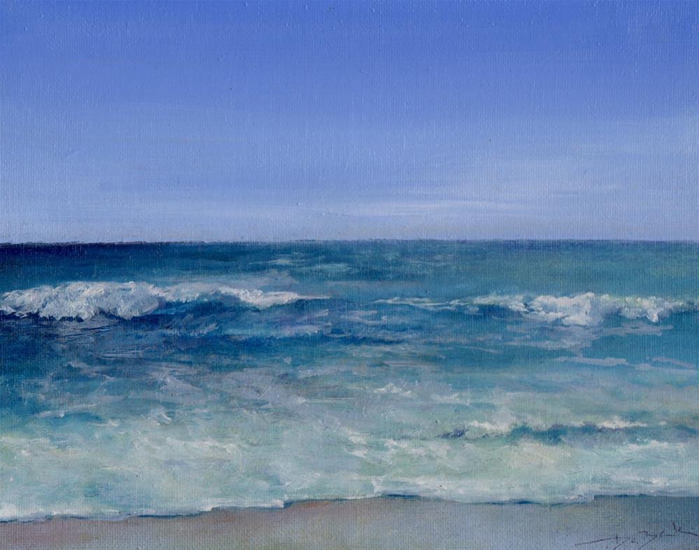 """ocean in Myrtle beach"" original fine art by V. DeBak"