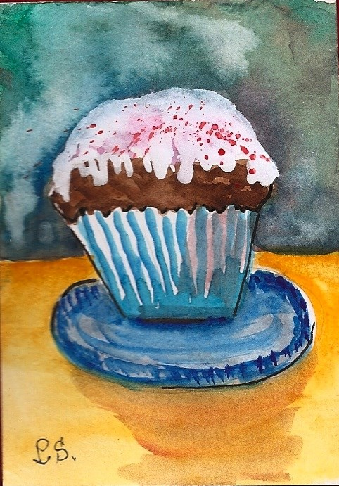 """ACEO Cupcake Love with Sprinkles Food Still Life Watercolor by Penny StewArt"" original fine art by Penny Lee StewArt"
