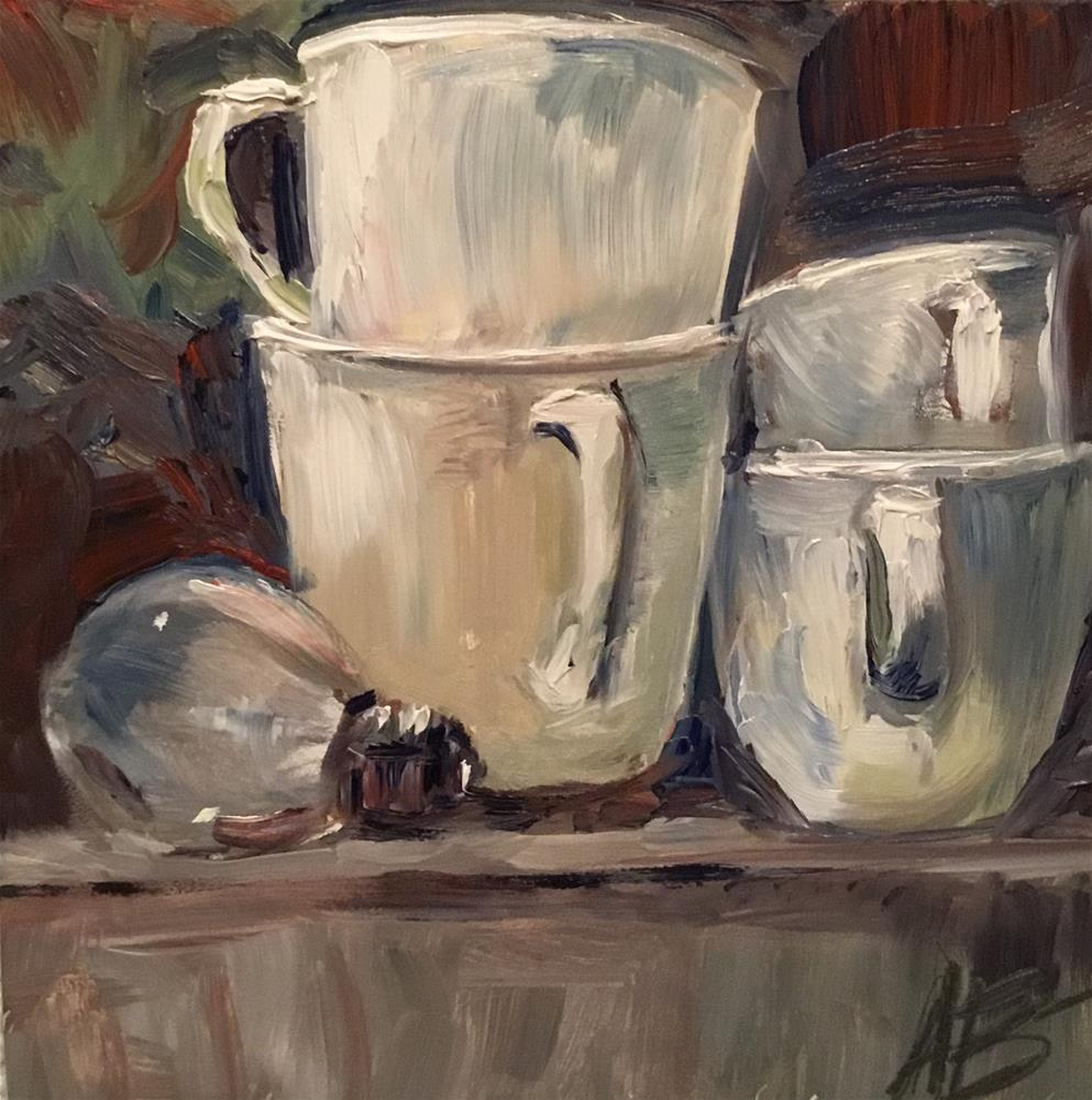 """Four white cups study #1"" original fine art by Annette Balesteri"