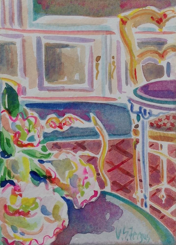 """French Chairs and Peonies"" original fine art by Virginia Fergus"