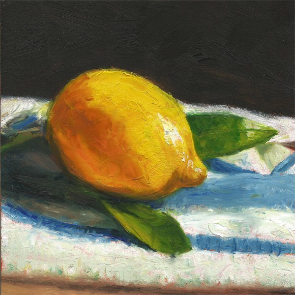 """Lemon on a French cloth"" original fine art by Peter J Sandford"