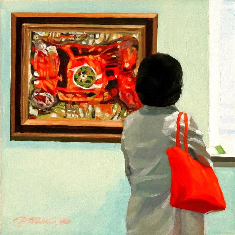 """""""Finding Skeleton--Painting People in Museum/Gallery Series"""" original fine art by Joanna Bingham"""