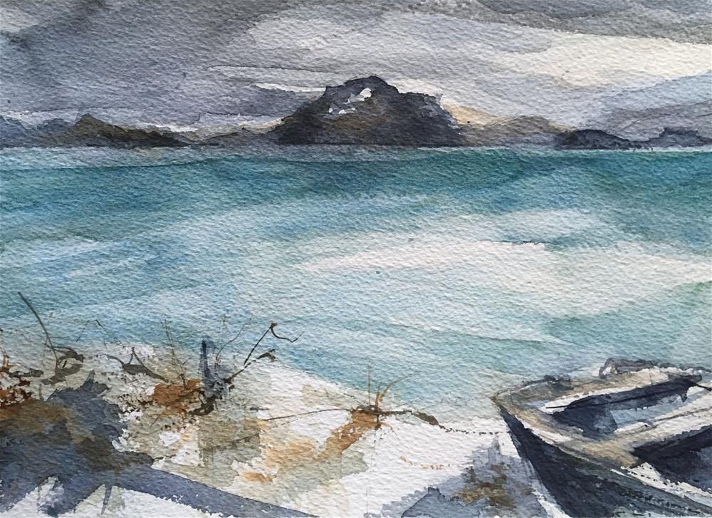"""TURQUOISE SEA WITH BOAT"" original fine art by Ferran Llagostera"