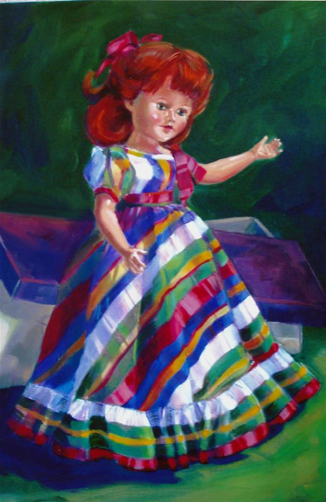 """Doll in plaid taffeta"" original fine art by Donna Whatcott Parsons"