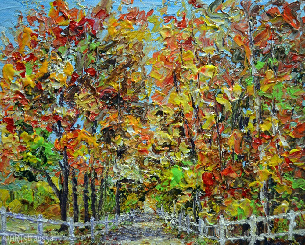 """Autumn Roadway Through Metamora"" original fine art by Gloria Ester"