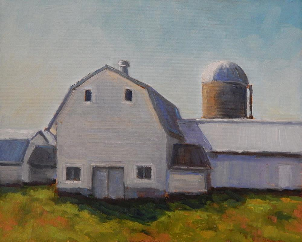 """White Barns"" original fine art by Lisa Kyle"