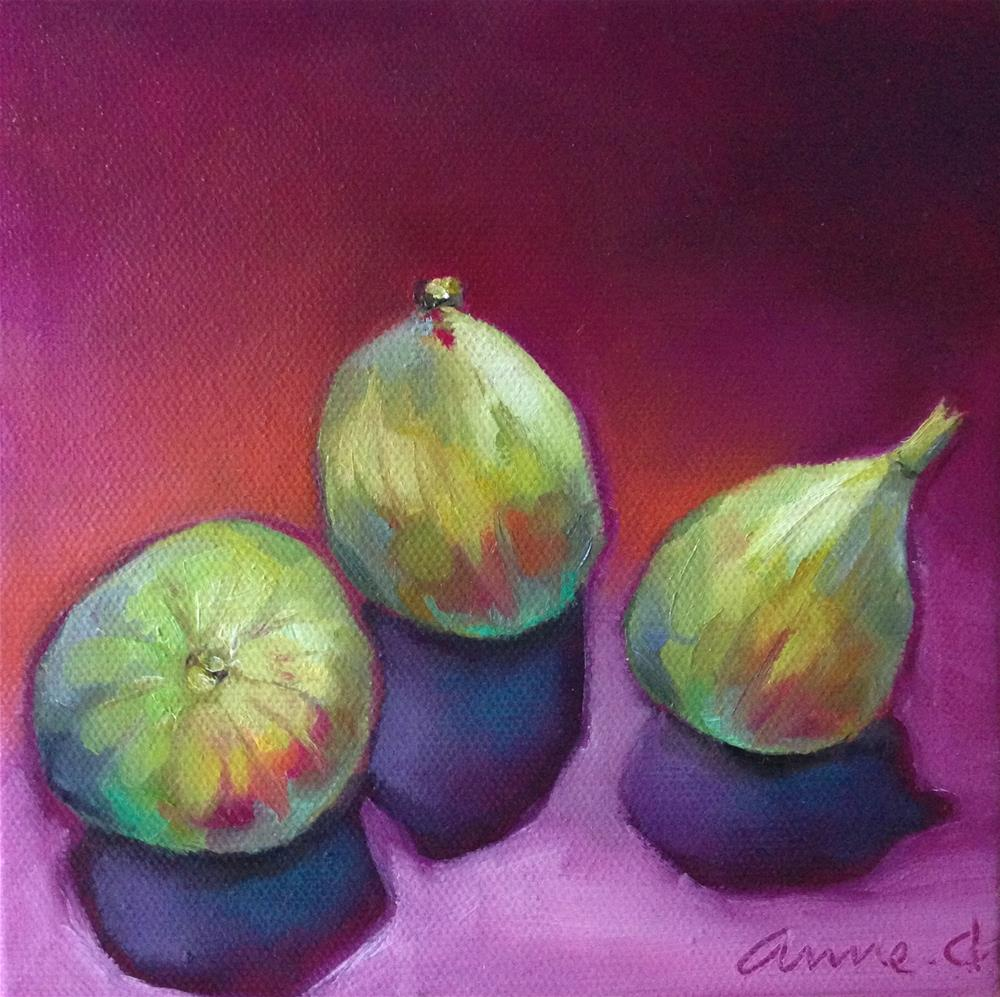 """Three Figs Ready for Halloween"" original fine art by Anne Ducrot"