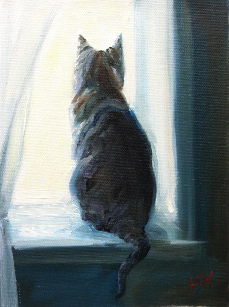 """Tabby in the Window"" original fine art by H.F. Wallen"