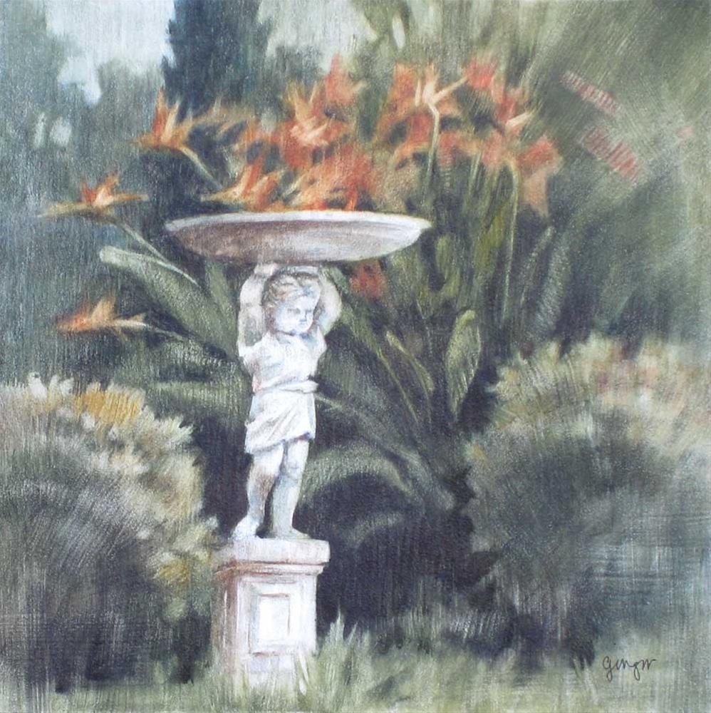 """Bird Bath at Kimberly Crest"" original fine art by Ginger Pena"