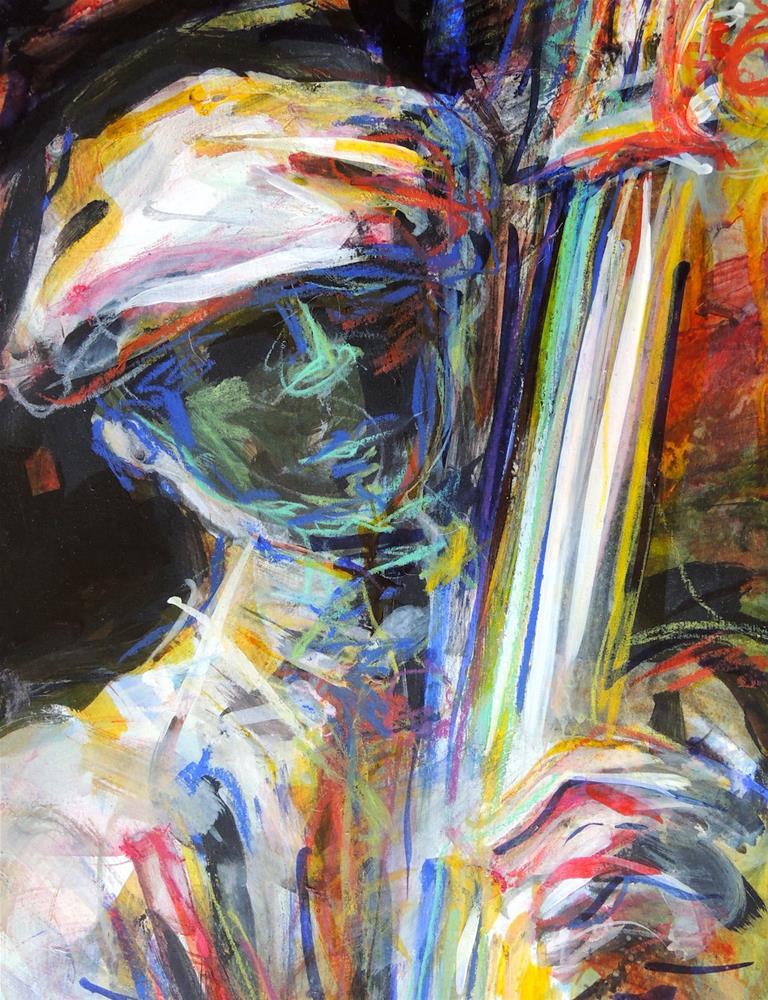 """Jazz Shadow Man"" original fine art by Mary Schiros"
