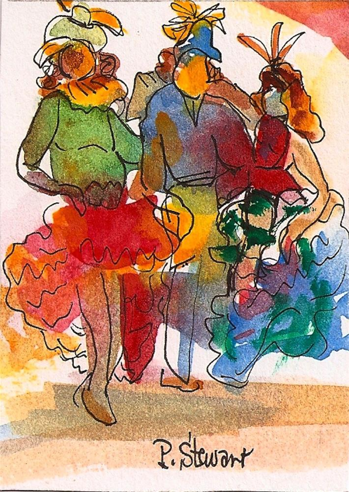 """ACEO Mardi Gras Trio, 3 women in Costume"" original fine art by Penny Lee StewArt"
