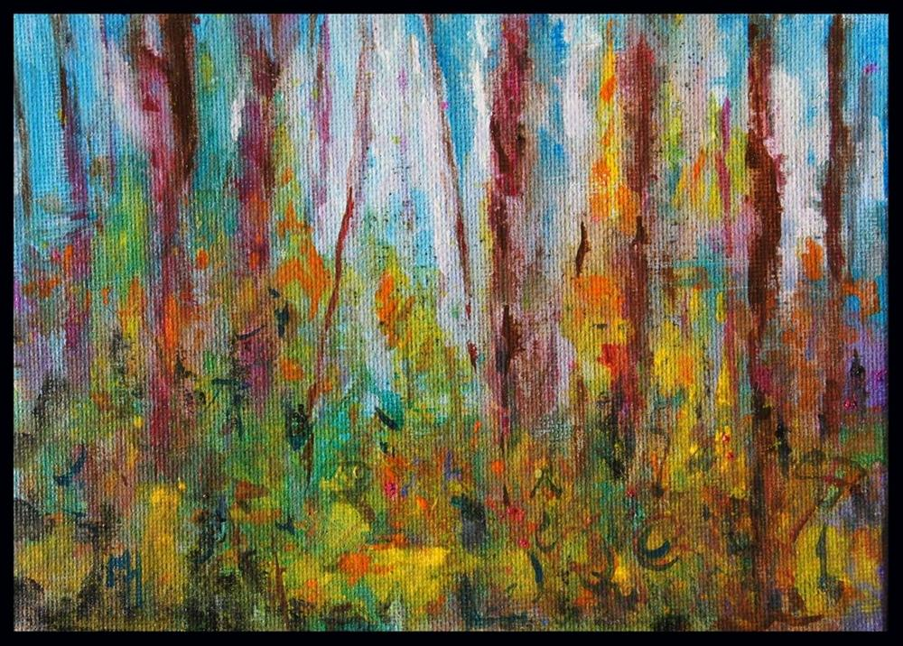 """Landscape Impressions #8 Abstract Gouache painting"" original fine art by Marion Hedger"