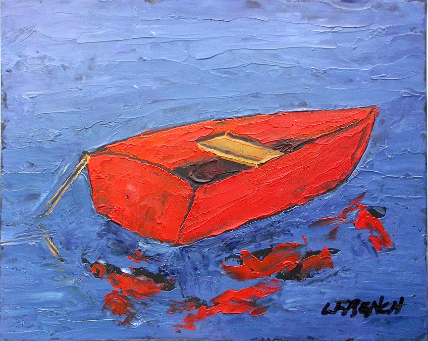 """Red Boat"" original fine art by lynne french"