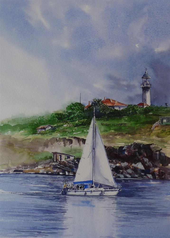 """The Day Dorian Romain visited St. John"" original fine art by Martin Stephenson"