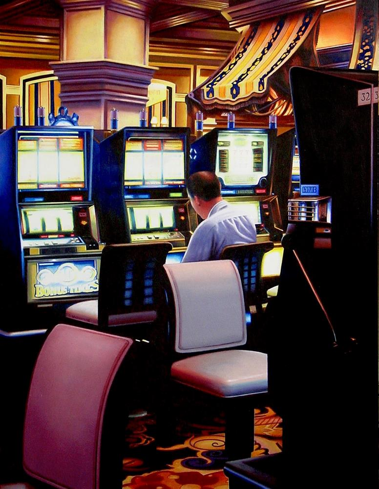 """Slot Machines 3- City Scene Painting Of A Man Gambling In Hotel Lobby Las Vegas"" original fine art by Gerard Boersma"