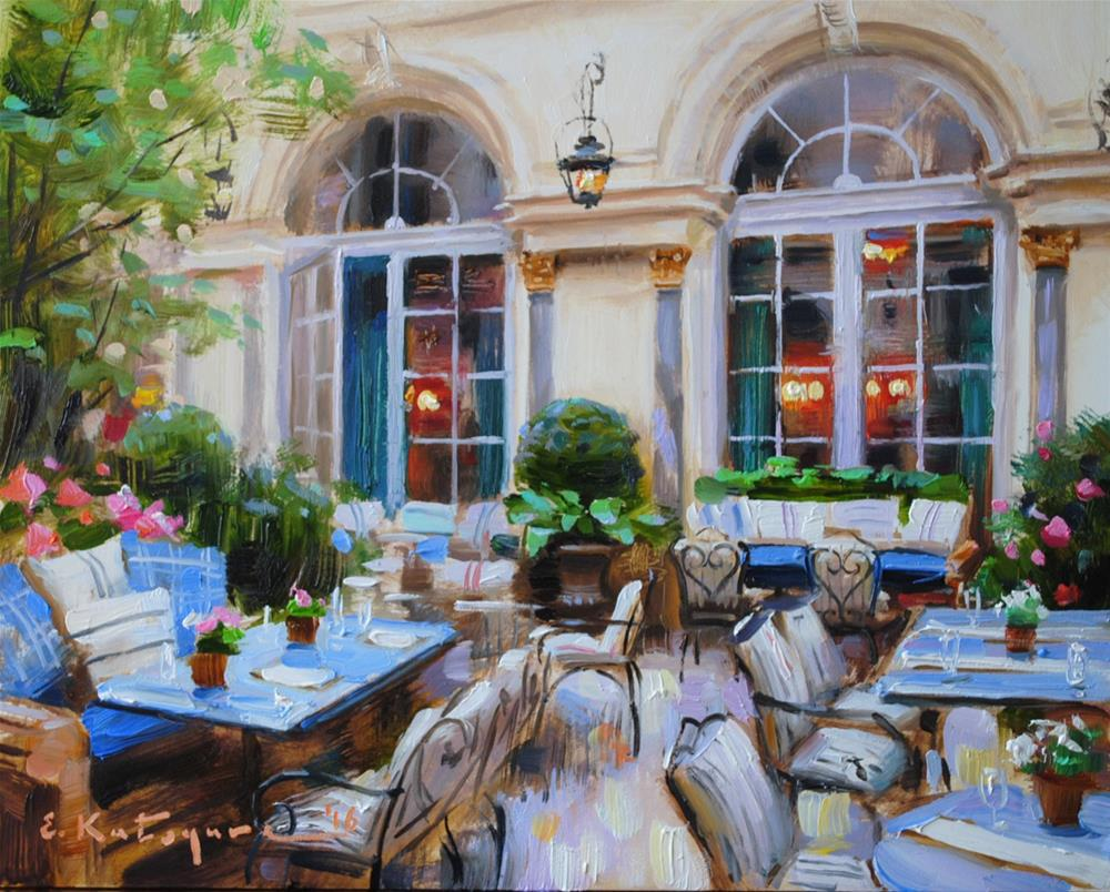 """Blue Tables Hotel"" original fine art by Elena Katsyura"