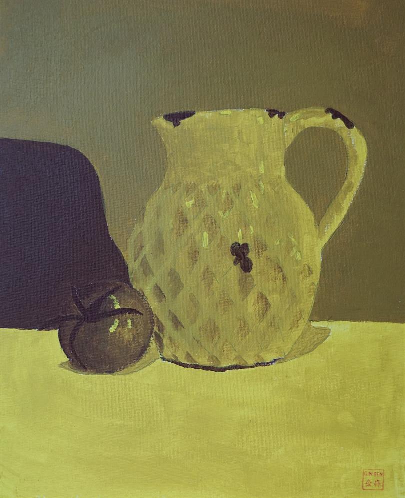 """Jug Study in yellow"" original fine art by Gin Sen"