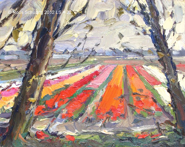 """Landscape spring #22 Bulbfields - """"Lappendeken"""" and trees original fine art by Roos Schuring"""