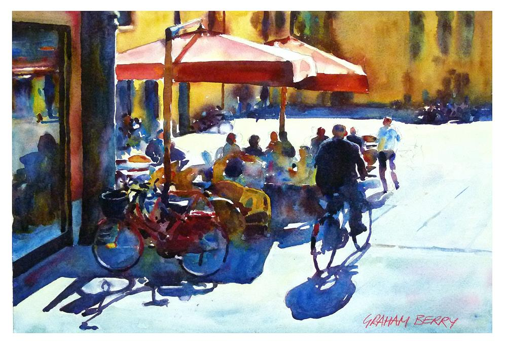 """Cycling through the piazza."" original fine art by Graham Berry"