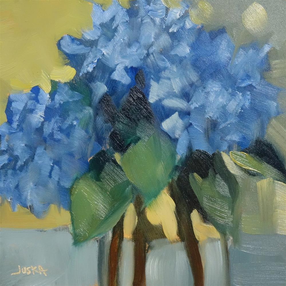 """Blue Hydrangea in Glass Jar"" original fine art by Elaine Juska Joseph"