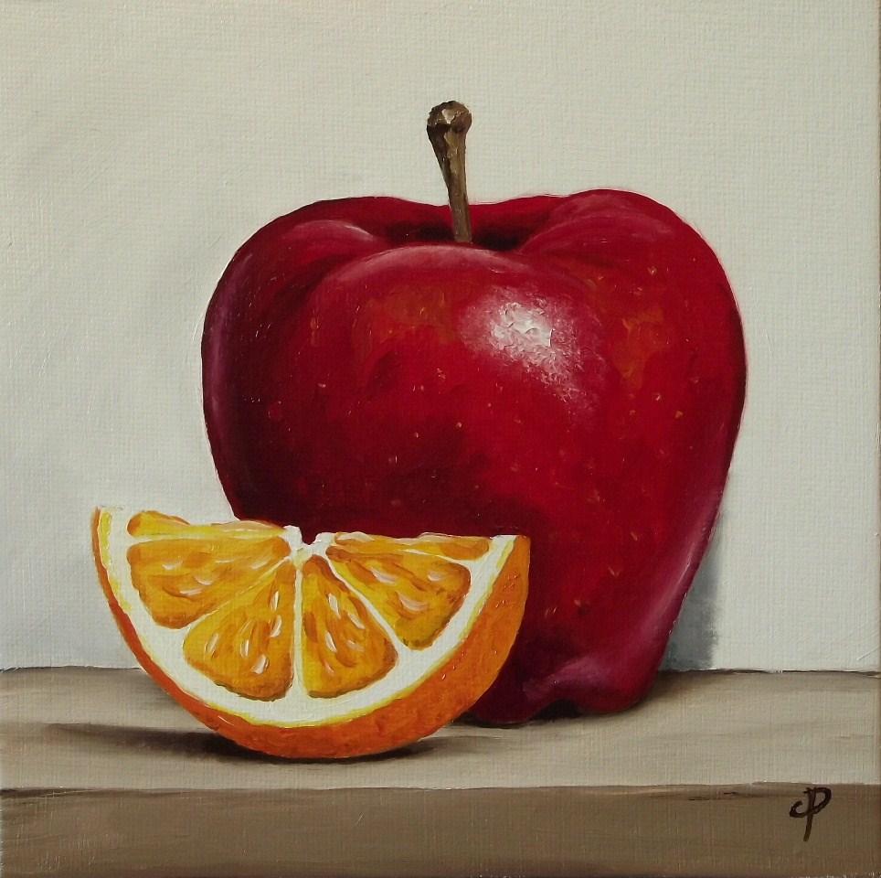 """Apple with Orange slice"" original fine art by Jane Palmer"