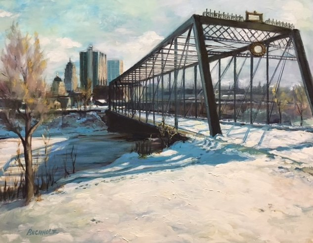 """The Old Wells Street Bridge"" original fine art by Terri Buchholz"
