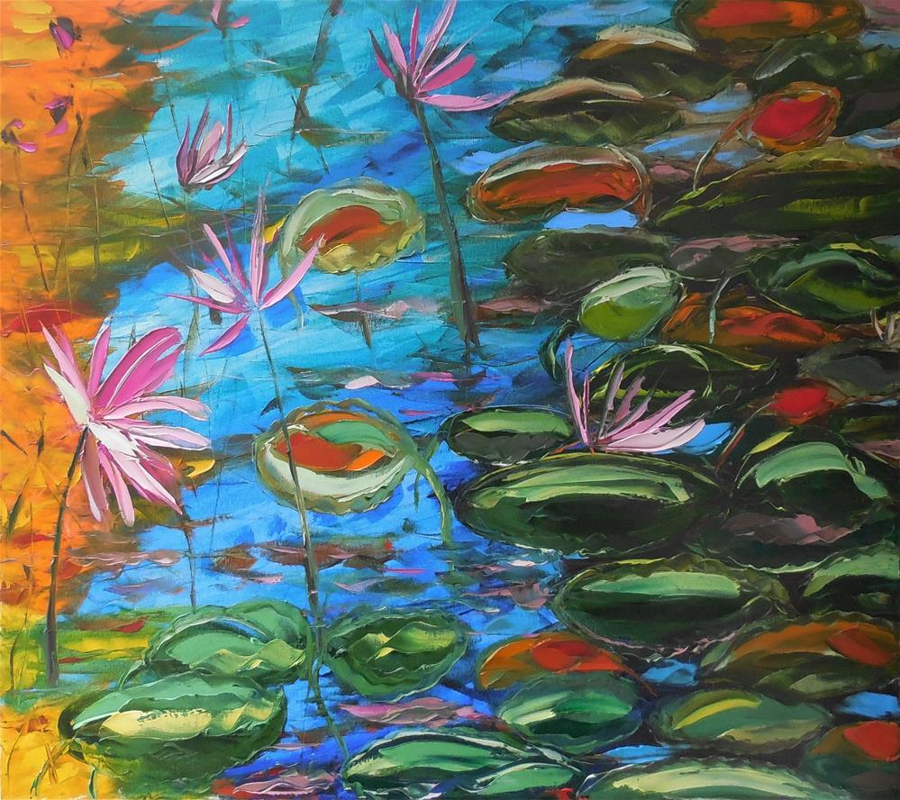 """Autumn pond"" original fine art by Elena Lunetskaya"