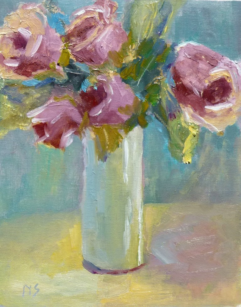 """Vase of Roses 14032"" original fine art by Nancy Standlee"