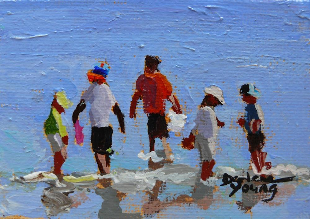 """870 Beach Boys, oil on board, 2.5 x 3.3"" original fine art by Darlene Young"