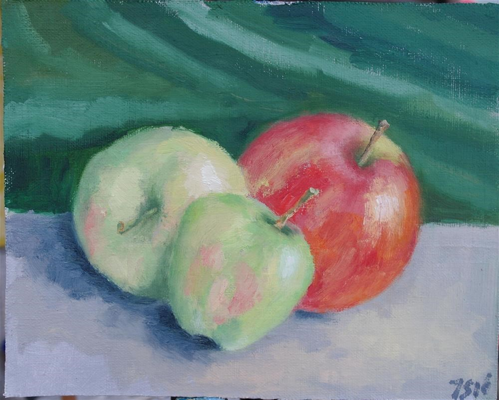 """3 apples"" original fine art by Yuriy Semyonov"