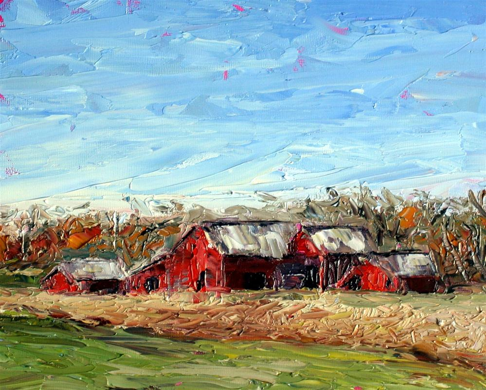 """Red Barns"" original fine art by Kristen Dukat"