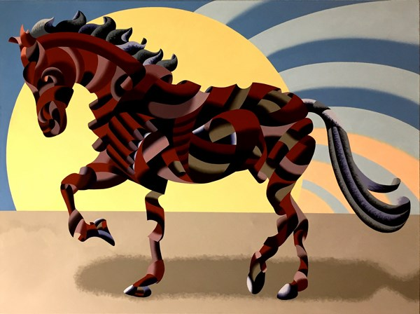 """Mark Webster - Abstract Geometric Futurist Horse Oil Painting"" original fine art by Mark Webster"