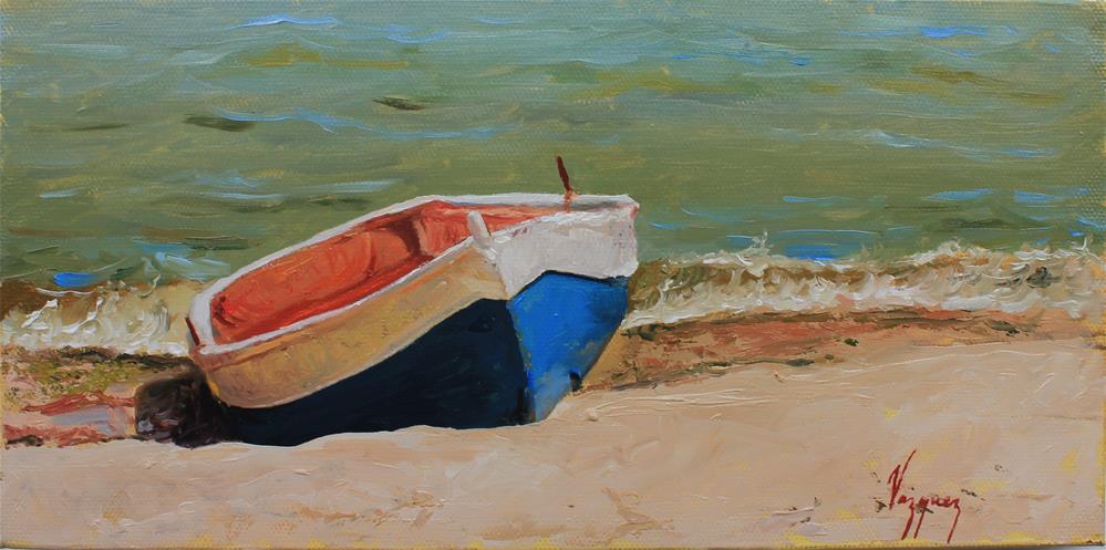 """Resting boat"" original fine art by Marco Vazquez"