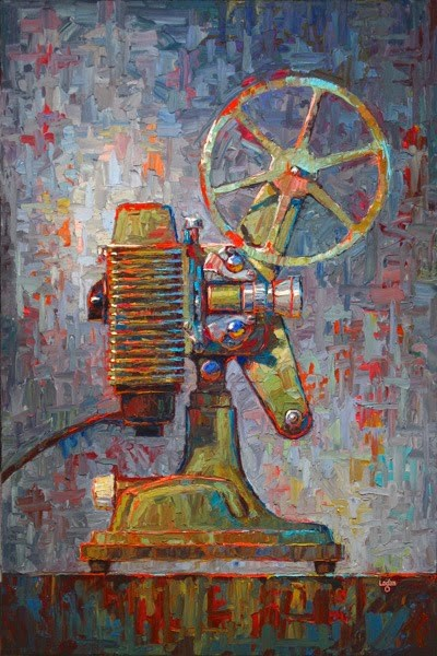 """Scott's Revere 85 8mm Projector"" original fine art by Raymond Logan"
