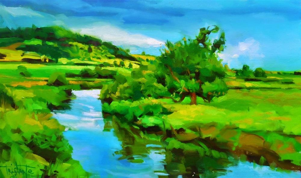"""Green fields"" original fine art by Víctor Tristante"