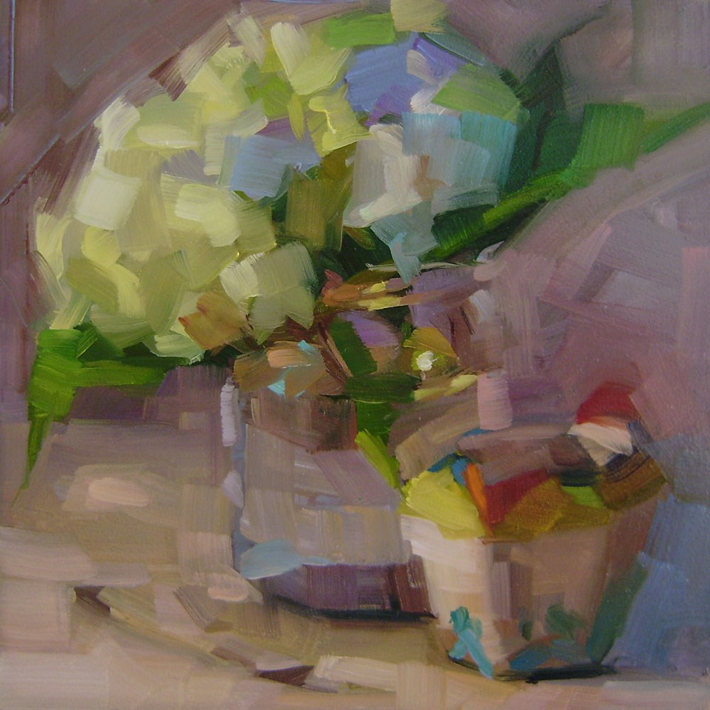 """White Hydrangea"" original fine art by Holly Storlie"