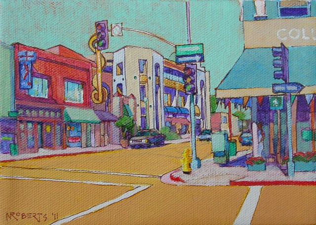 """Fourth and University, San Diego"" original fine art by Nancy Roberts"