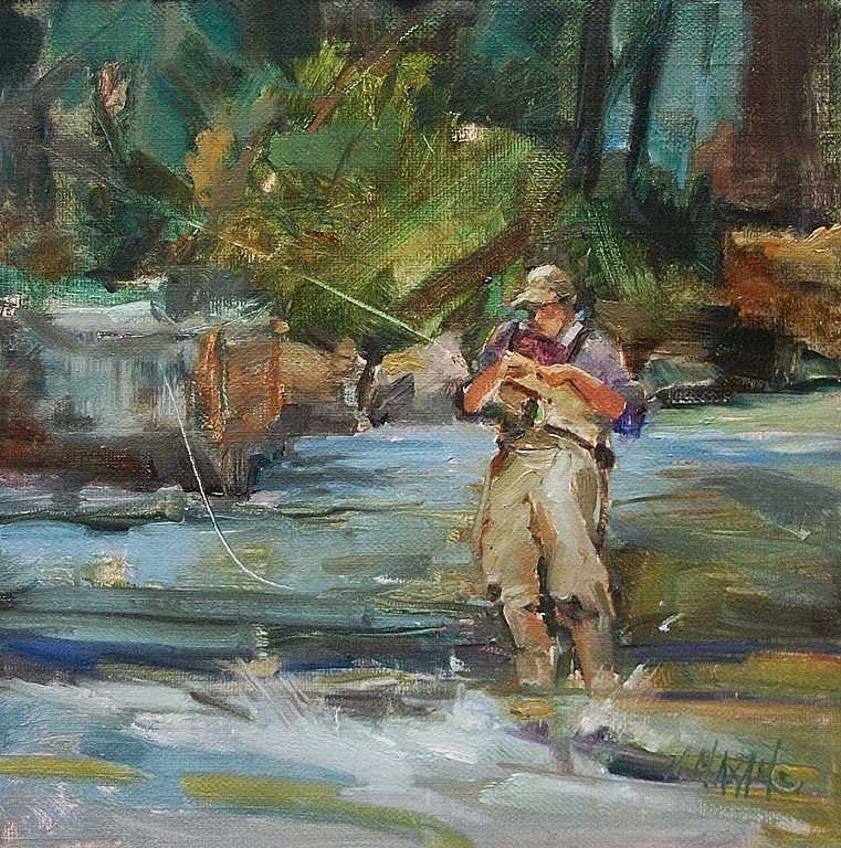 """Balancing Act - fly fishing and other plein air pursuits"" original fine art by Mary Maxam"