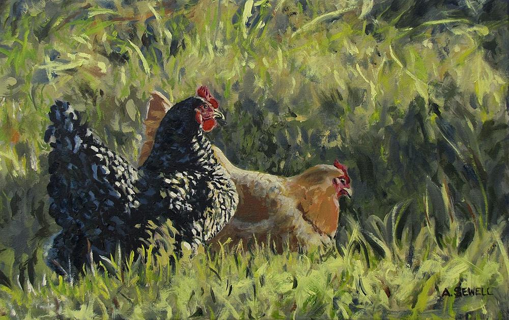 """Free Ranging Fowl - 12x19"" original fine art by Andy Sewell"