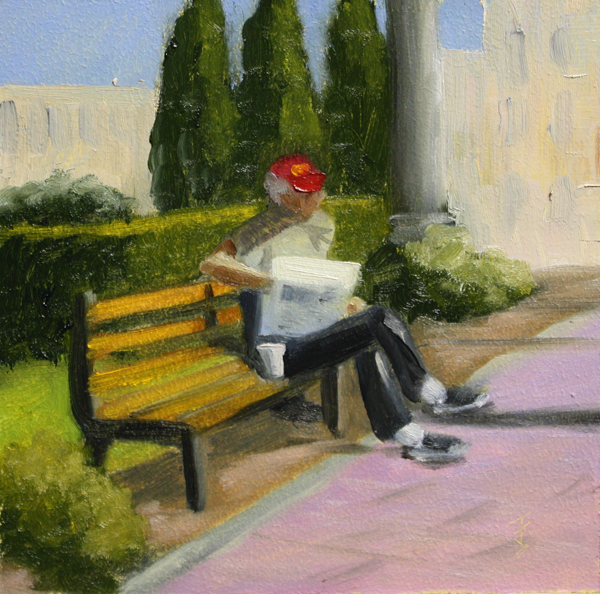 """Seated Man Challenge"" original fine art by Jane Frederick"
