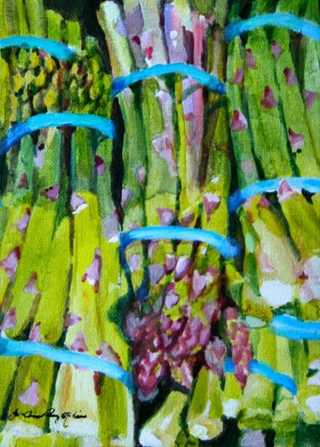 """Asparagus Bundles"" original fine art by JoAnne Perez Robinson"