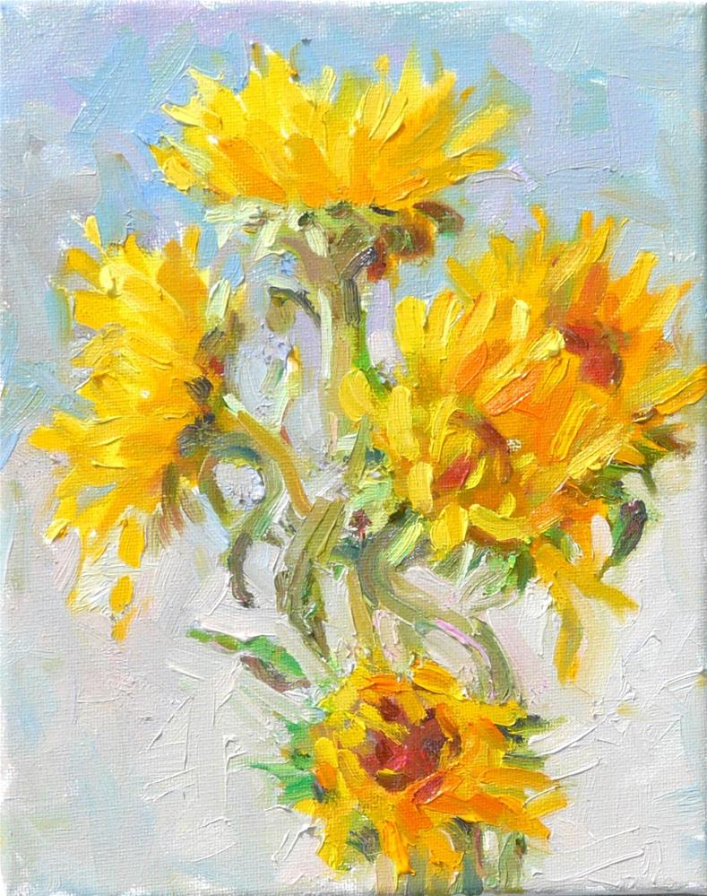 """Sunflowers in September,still life,oil on canvas,10x8,price$325"" original fine art by Joy Olney"