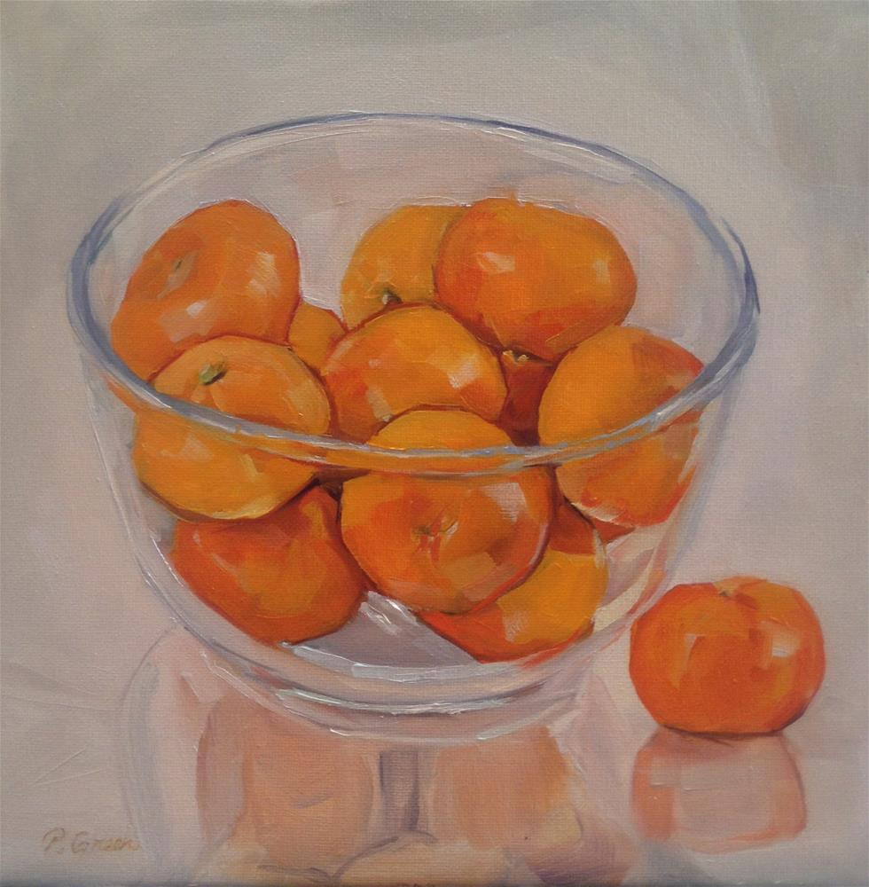 """Clementines in glass bowl"" original fine art by Paula Howson-Green"
