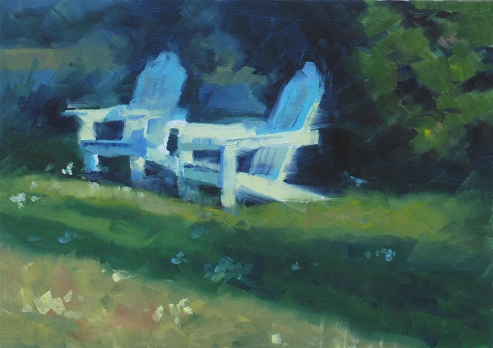"""Adirondack Chairs"" original fine art by Susan McManamen"