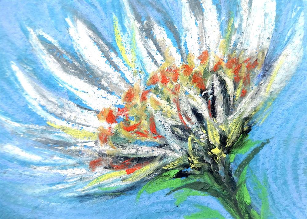 """6021 - WHITE DAISY ACEO"" original fine art by Sea Dean"