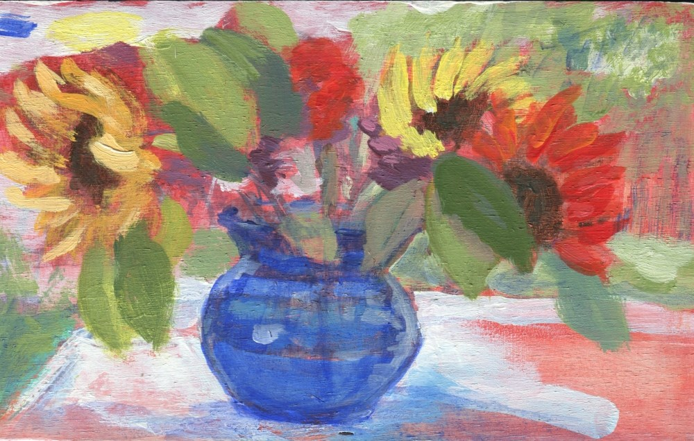 """Sunflowers In Blue"" original fine art by Stanley Epperson"
