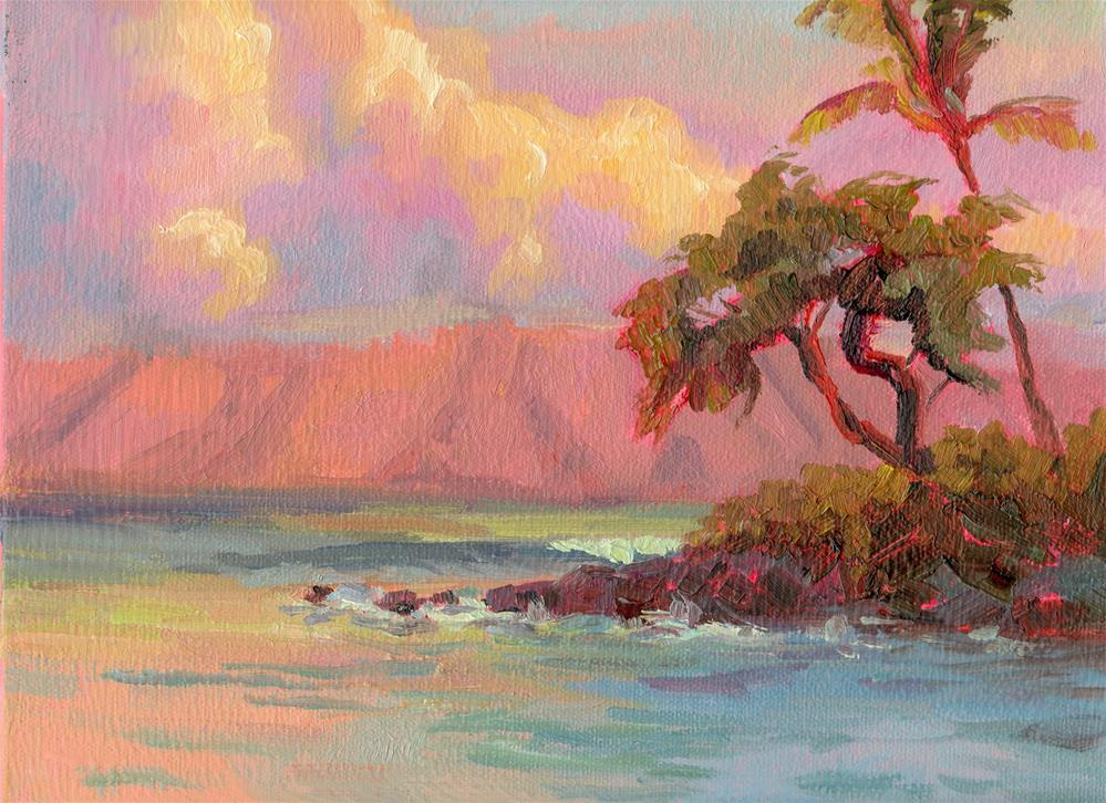 """SUNRISE AND TREE"" original fine art by Karen E Lewis"