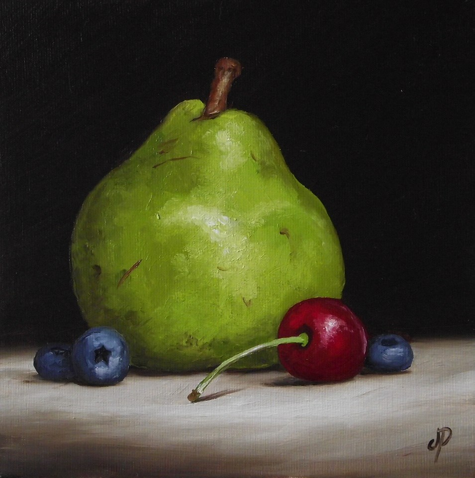 """""""Pear with cherry and blueberry"""" original fine art by Jane Palmer"""